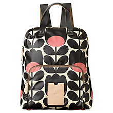 Buy Orla Kiely Matt Laminated Tulip Stem Backpack, Black / Pink Online at johnlewis.com