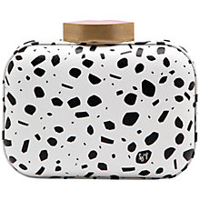 Buy Lulu Guinness Leather Print Box Clutch, Black / White Online at johnlewis.com