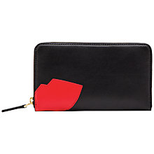 Buy Lulu Guinness Lips Zip Around Leather Wallet, Black Online at johnlewis.com