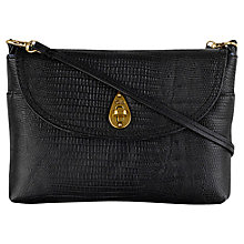 Buy Tula Small Lizard Leather Across Body Bag, Black Online at johnlewis.com
