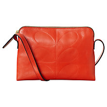 Buy Orla Kiely Exclusive Embossed Poppy leather Bag, Orange Online at johnlewis.com
