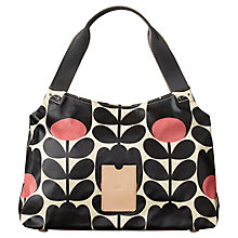 Buy Orla Kiely Matt Laminated Tulip Stem Shoulder Bag, Black / Pink Online at johnlewis.com