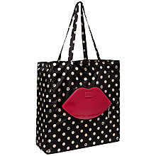 Buy Lulu Guinness Red Lips Polka Dot Foldaway Shopper, Black Online at johnlewis.com
