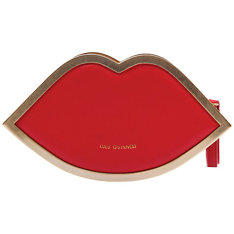 Buy Lulu Guinness Nappa Leather Lips Wristlet, Red Online at johnlewis.com