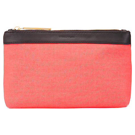 Buy Whistles Anna Leopard Canvas Pouch Bag, Coral Online at johnlewis.com