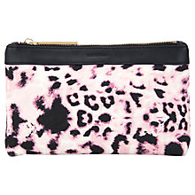Buy Whistles Anna Leopard Canvas Pouch Bag, Pink Online at johnlewis.com