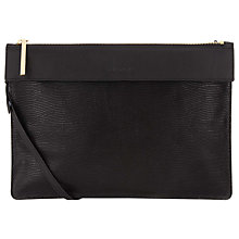 Buy Whistles Olivia Leather Strap Clutch, Black Online at johnlewis.com