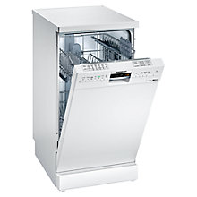 Buy Siemens SR26M230GB Slimline Freestanding Dishwasher, White Online at johnlewis.com