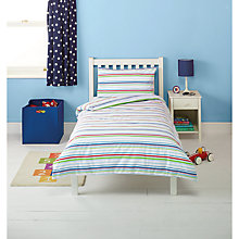 Buy little home at John Lewis Traffic Flannelette Stripe Single Duvet Cover, Fitted Sheet and Pillowcase Set Online at johnlewis.com
