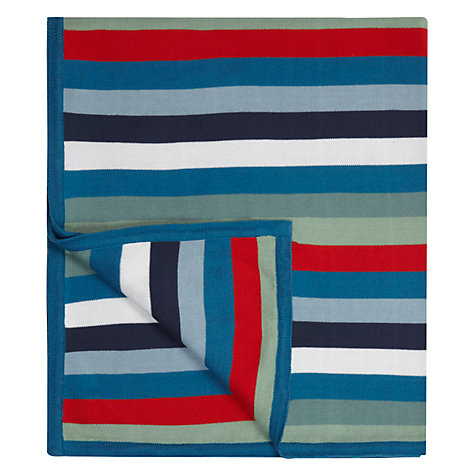 Buy little home at John Lewis Dino Was Here Striped Knitted Throw Online at johnlewis.com
