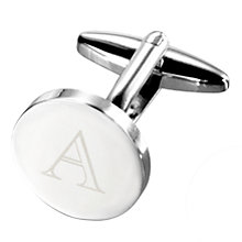 Buy John Lewis Round Initial Cufflinks, Single Online at johnlewis.com