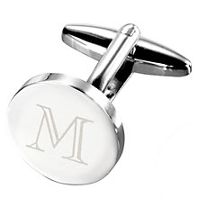 Buy John Lewis Round Initial Single Cufflink, Silver Online at johnlewis.com