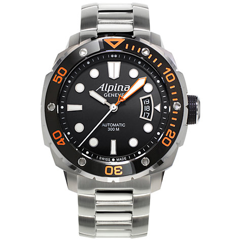 Buy Alpina AL-525LBO4V26B Men's Extreme Diver 300 Bracelet Strap Watch, Silver/Black Online at johnlewis.com