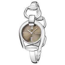 Buy Gucci YA139501 Women's Horsebit Stainless Steel Bangle Strap Watch, Silver/Brown Online at johnlewis.com