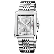 Buy Gucci Men's G-Timeless Rectangular Stainless Steel Bracelet Strap Watch Online at johnlewis.com