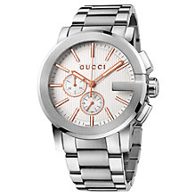 Buy Gucci YA101201 Men's G-Chrono Stainless Steel Chronograph Watch, Silver Online at johnlewis.com