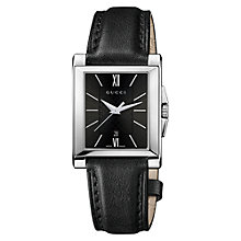 Buy Gucci YA138503 Women's G-Timeless Rectangle Dial Leather Strap Watch, Black Online at johnlewis.com