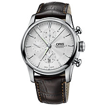 Buy Oris 77476864051LS Men's Chronograph Stainless Steel Leather Strap Watch, Silver Online at johnlewis.com