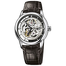 Buy Oris 73476844051LS Men's Artelier Skeleton Dial Automatic Leather Strap Watch, Brown Online at johnlewis.com