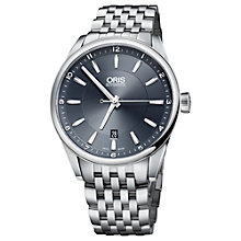 Buy Oris 73376424035MB Men's Blue Dial Mock Croc Leather Strap Watch Online at johnlewis.com