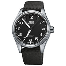 Buy Oris 0175176974164-0752015FC Men's Pro-Pilot Black Dial Fabric Strap Watch Online at johnlewis.com