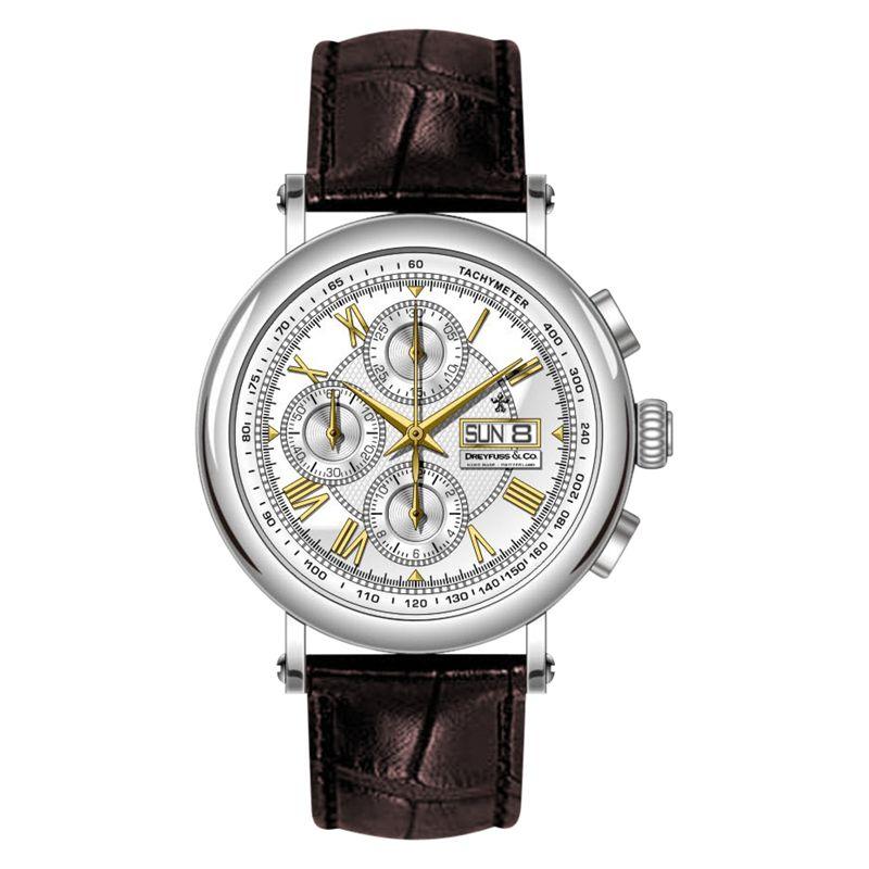 Dreyfuss & Co Dreyfuss & Co Men's Valjoux Automatic Chronograph Leather Strap Watch