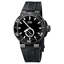 Buy Oris 73976747754RS Men's Aquis Diving Automatic Rubber Strap Watch, Black Online at johnlewis.com