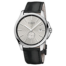 Buy Gucci YA126313 Men's G-Timeless Automatic Leather Strap Watch, Black Online at johnlewis.com