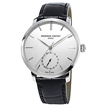 Buy Frédérique Constant FC-710S4S6 Men's Slim Line Moon-Phase Leather Alligator Strap Watch, Black Online at johnlewis.com