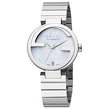 Buy Gucci YA133401 Women's Interlocking G Mother Of Pearl Bracelet Watch, Silver Online at johnlewis.com