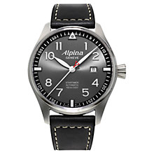 Buy Alpina AL-525GB4S6 Men's Startimer Pilot Automatic Sunstar Watch, Dark Grey Online at johnlewis.com