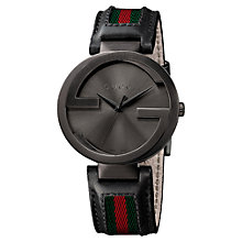 Buy Gucci YA133206 Men's Interlocking G Fabric Strap Watch, Black Online at johnlewis.com