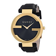 Buy Gucci Unisex Interlocking G Groove Dial Gold Plated Leather Strap Watch Online at johnlewis.com