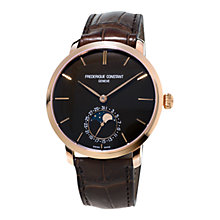 Buy Frédérique Constant FC-705C4S9 Slimline Moon-Phase 18ct Rose Gold Alligator Strap Watch, Brown Online at johnlewis.com