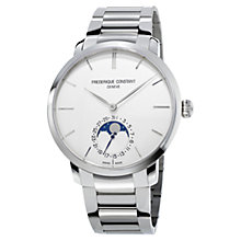 Buy Frédérique Constant FC-705S4S6B2 Men's Classics Slim Line Moonphase Bracelet Strap Watch, Silver/White Online at johnlewis.com