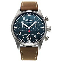 Buy Alpina AL-372N4S6 Men's Startimer Pilot Chronograph Watch, Petrol Blue Online at johnlewis.com
