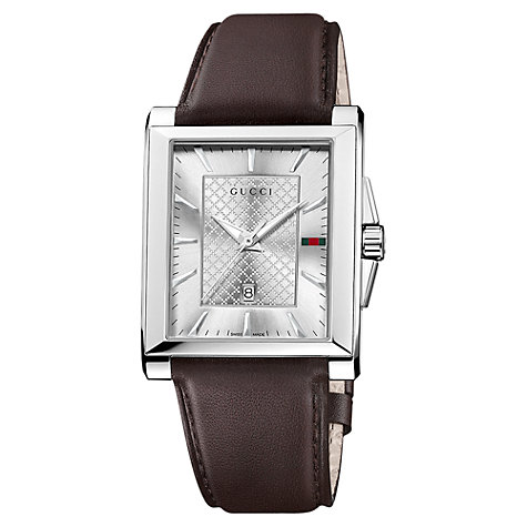 Buy Gucci Unisex G-Timeless Rectangular Leather Strap Watch Online at johnlewis.com