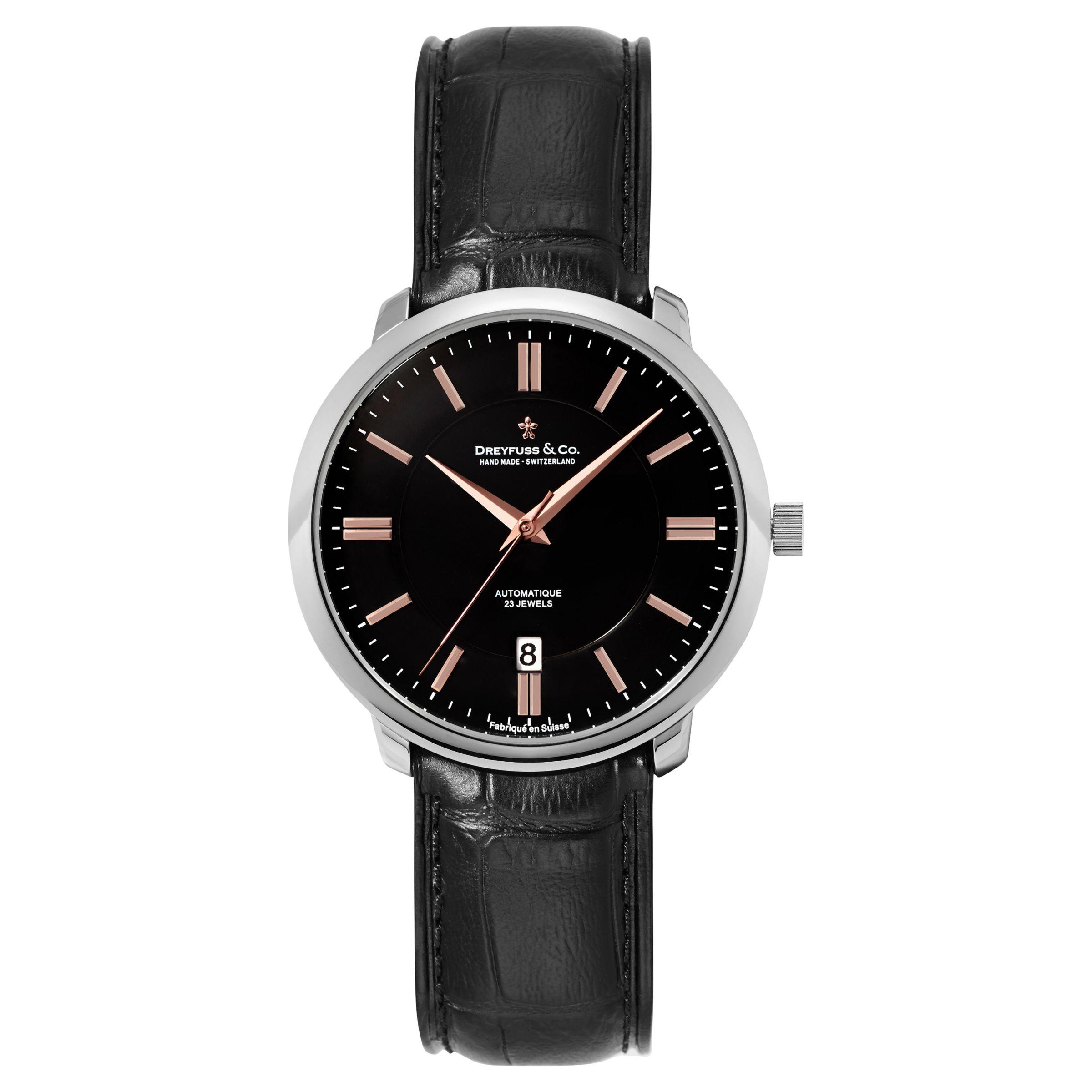 Dreyfuss & Co Dreyfuss & Co Men's 1925 Automatic Leather Strap Watch