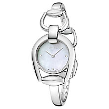 Buy Gucci YA139506 Women's Horsebit Stainless Steel Bangle Strap Watch, Silver/White Online at johnlewis.com