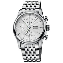 Buy Oris 77476864051MB Men's Chronograph Stainless Steel Bracelet Watch, Silver Online at johnlewis.com