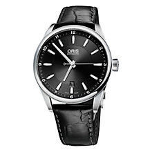 Buy Oris 0173376534155-0782601PEB Men's Aquis Date Stainless Steel Bracelet Watch, Black Online at johnlewis.com