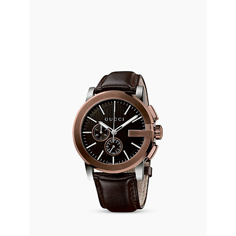 Buy Gucci Men's G-Chrono Chronograph Leather Strap Watch Online at johnlewis.com