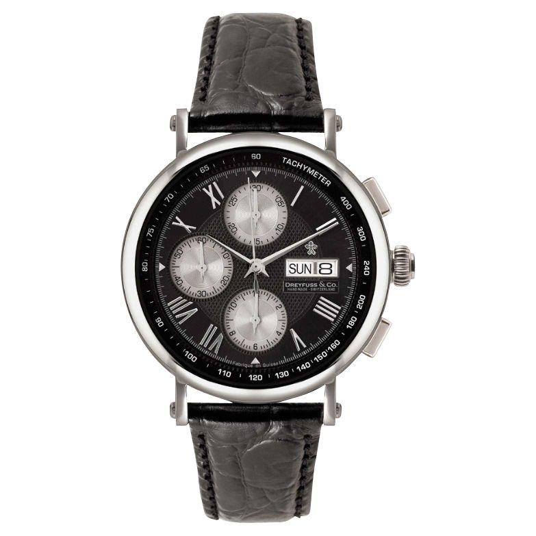 Dreyfuss & Co Dreyfuss & Co Men's Chronograph Leather Strap Watch