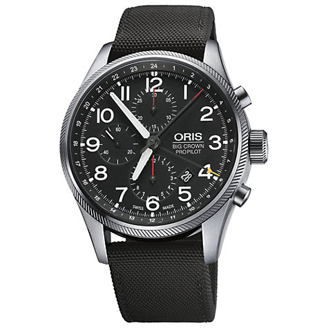 Buy Oris 0167776994164-0752215FC Men's Chronograph Round Black Dial Fabric Strap Watch Online at johnlewis.com