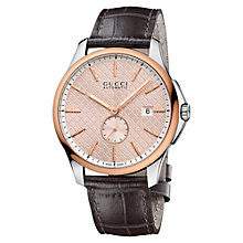 Buy Gucci YA126314 Men's G-Timeless Rose Gold Alligator Leather Strap Watch, Brown Online at johnlewis.com