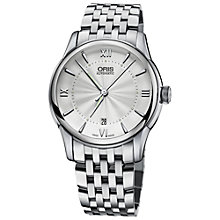 Buy Oris 73376704071MB Men's Sunray Dial Stainless Steel Bracelet Watch, Silver Online at johnlewis.com