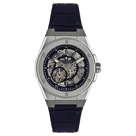 Buy Dreyfuss & Co DGS00079/05 Men's Skeleton Dial Leather Strap Watch, Black/Silver Online at johnlewis.com
