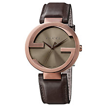 Buy Gucci YA133207 Men's Interlocking G Leather Strap Watch, Brown Online at johnlewis.com