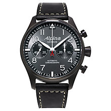 Buy Alpina AL-860GB4FBS6 Men's Startimer Pilot Chronograph Blackstar Watch, Dark Grey Online at johnlewis.com