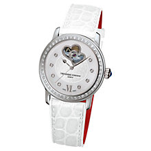 Buy Frédérique Constant FC-310WHF2PD6 Women's Constant Automatic Satin Strap Watch, White Online at johnlewis.com